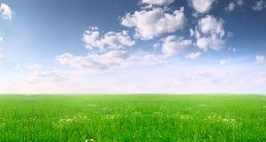 Campo largo e céu azul Imagens de Stock Royalty Free