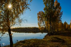Campo lituano coloreado por otoño Fotografía de archivo libre de regalías