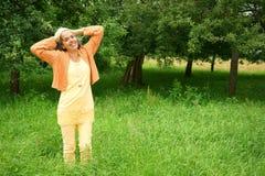 Campo maduro de sorriso da mulher Imagem de Stock Royalty Free