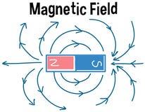 Campo magnético y líneas del campo magnético ilustración del vector