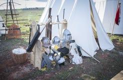 Campo medieval s xiv Reconstrucción histórica de la batalla de Montiel españa fotografía de archivo