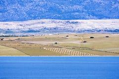 Campo mediterrâneo da agricultura pelo mar na ilha Fotografia de Stock Royalty Free