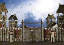 Campo militar medieval guardado por el ejemplo de los caballeros ilustración del vector