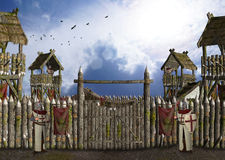 Campo militare medievale custodetto tramite l'illustrazione dei cavalieri Immagine Stock