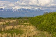 Campo, montanhas e linha de transmissão da eletricidade Imagens de Stock
