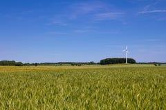 Campo, motor de viento y un cielo azul Foto de archivo libre de regalías
