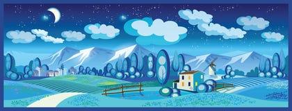 Campo na noite ilustração do vetor