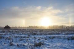 Campo nell'inverno Effetto di alone su un cielo Fotografie Stock
