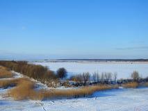 Campo nell'inverno, Lituania di inondazione e del fiume Fotografia Stock Libera da Diritti