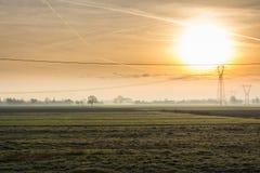 Campo no nascer do sol Foto de Stock Royalty Free