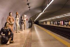 Campo Pequeno gångtunnelstation (tunnelbanastation) i Lissabon (Lissabon), Portugal royaltyfria foton