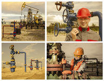 Campo petrolífero da colagem Fotos de Stock Royalty Free