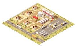 Campo petrolífero poli isométrico do vetor baixo ilustração stock