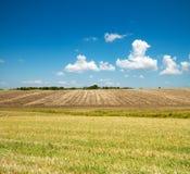 Campo Ploughed e verde imagens de stock royalty free