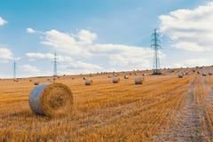 Campo raccolto con le balle della paglia in estate Fotografia Stock