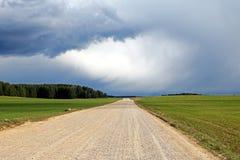 Campo, rurale, strada della ghiaia coperta di polvere in mezzo ad un campo verde, prima di un temporale, foto orizzontale fotografia stock