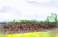 Campo russo arato con la foresta nei precedenti e l'erba nella priorità alta Illustrazione dell'acquerello di una posizione rural immagine stock libera da diritti