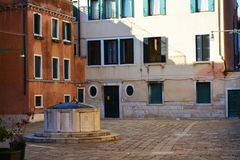 Campo S. Agostin and fountain in Venice, Italy Stock Image