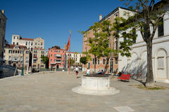 Campo S. Vio square at Grand Canal in Venice, Italy Royalty Free Stock Photography