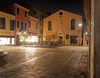 Campo San Tomà di notte Fotografia Stock