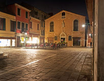 Campo San Tomà par nuit Photographie stock