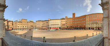 Campo, Siena. Panoramic image of Campo (main square), view from the Palazzo Publico main entrance, Siena, Italy Stock Images
