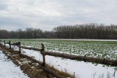 Campo sotto neve a febbraio ed il recinto di legno Immagini Stock