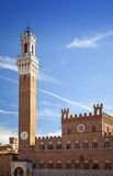 Campo Square with Mangia Tower, Siena, Italy Royalty Free Stock Photos