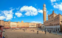 Campo Square with Mangia Tower, Siena, Italy Royalty Free Stock Photo