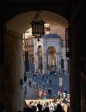 Campo Square Piazza del Campo, Palazzo Pubblico y Mangia Tower Torre del Mangia en Siena imágenes de archivo libres de regalías