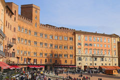 Campo Square with Public Building, Siena, Italy Royalty Free Stock Image