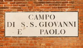 Campo SS Giavanni a Paolo in Venice stock photos