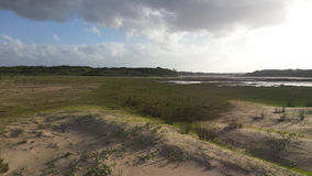 Campo surafricano con un lago Fotos de archivo