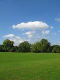 Campo verde bonito com céu azul Fotos de Stock Royalty Free