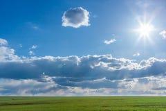 Campo verde com grama vibrante fresca e o céu azul com nuvens dramáticas e o sol no dia Foto de Stock