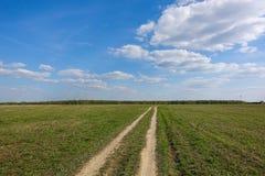 Campo verde con la carretera nacional, y cielo azul con las nubes Paisaje rural hermoso foto de archivo