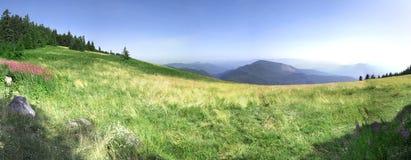 Campo verde con las montañas Imagen de archivo