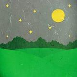 Campo verde cortado do papel de arroz na noite Imagens de Stock Royalty Free