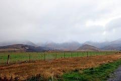 Campo verde de la granja y de la montaña en la niebla Foto de archivo