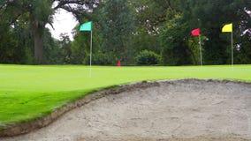 Campo verde del golf y cielo azul metrajes