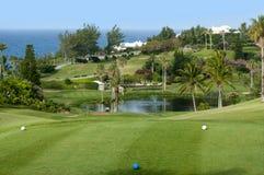 Campo verde del golf y cielo azul. Imagen de archivo