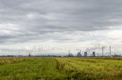 Campo verde delante de la planta de aceite industrial Imagen de archivo
