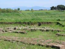 Campo verde di estensione alla molla con nelle rovine antiche della priorità alta a Isola Farnese nel Lazio in Italia Fotografie Stock Libere da Diritti