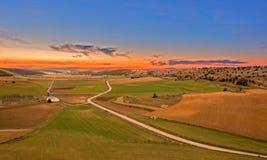 Campo verde en una puesta del sol y un cielo anaranjado Fotografía de archivo libre de regalías