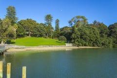 Campo verde y agua tranquila en la bahía Parnell Auckland New Zealand de los jueces imagen de archivo libre de regalías