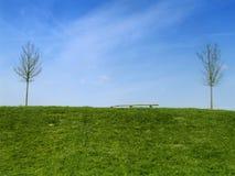 Campo verde y cielo azul Fotos de archivo