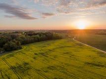 Campo verde y puesta del sol hermosa fotografía de archivo