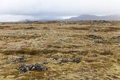 Campo vulcanico alla penisola di Snaefellsnes con le montagne alla t Fotografie Stock Libere da Diritti