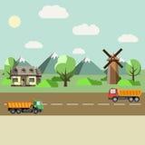 Campo y carretera Imagen de archivo libre de regalías
