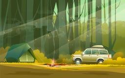 Campo y coche en bosque ilustración del vector